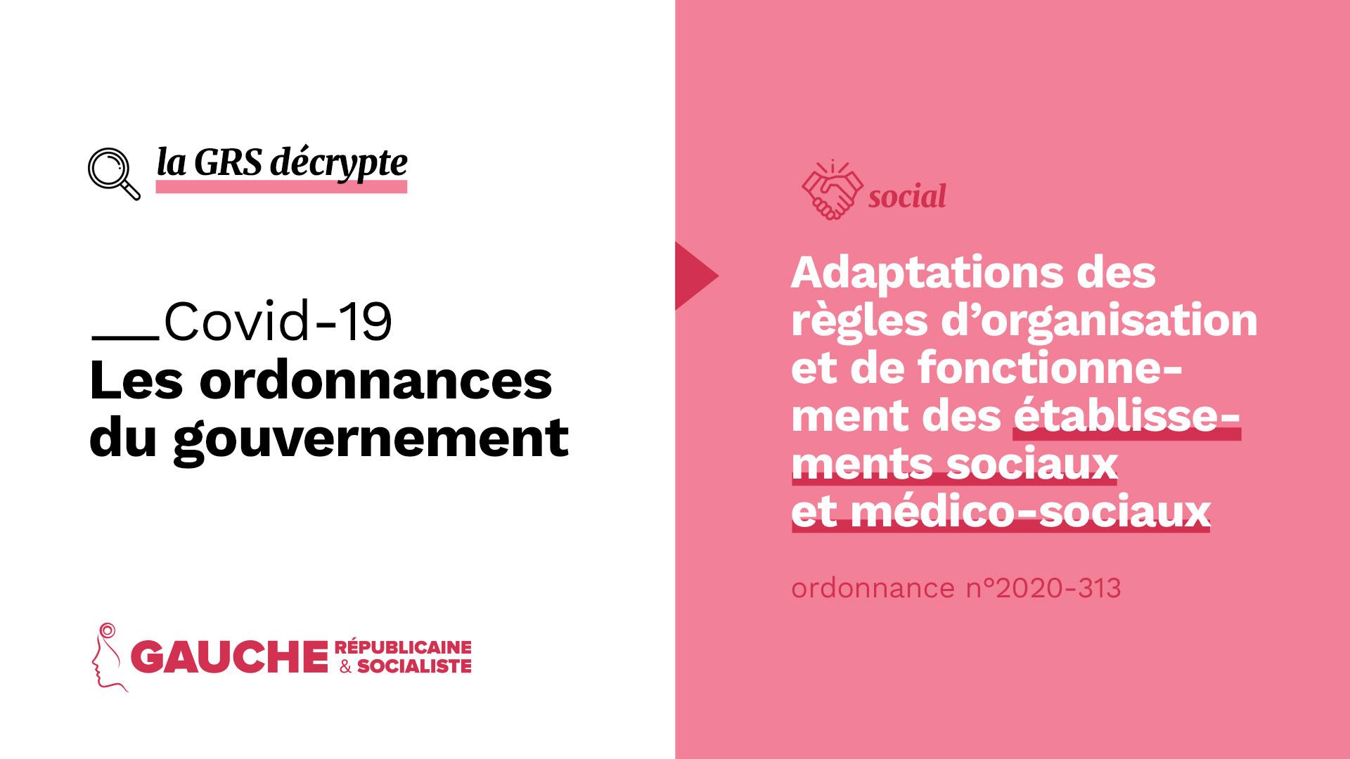 Ordonnance n° 2020-313 du 25 mars 2020 relative aux adaptations des règles d'organisation et de fonctionnement des établissements sociaux et médico-sociaux